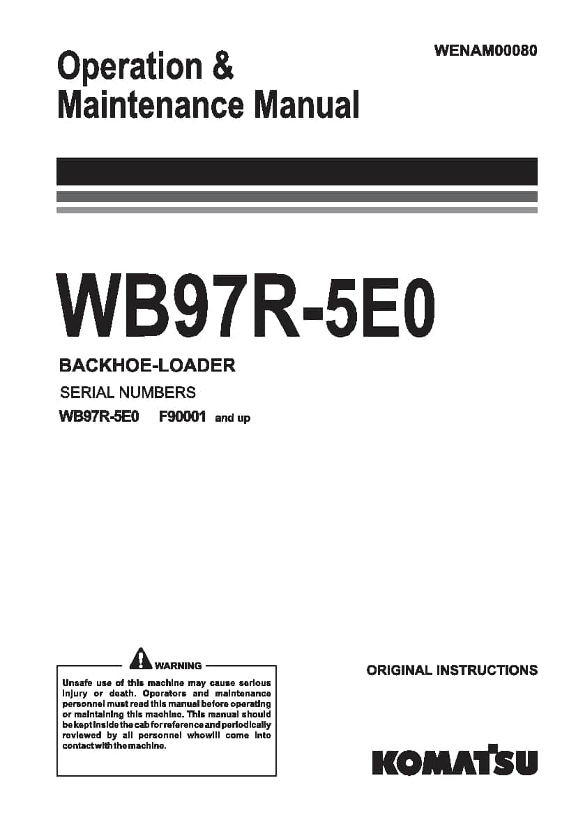 Komatsu WB97R-5E0 Backhoe loader Operation and Maintenance ...