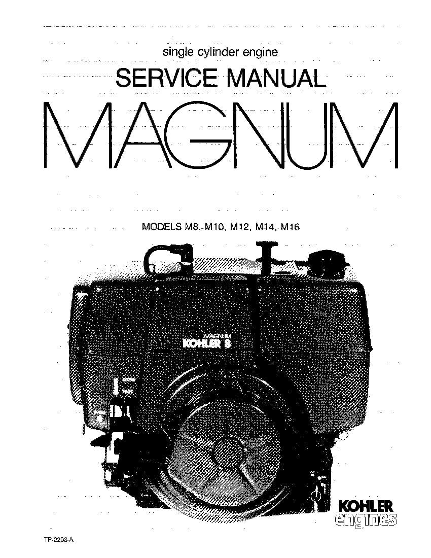 Kohler M8 M10 M12 M14 M16 Engines Workshop Repair Service