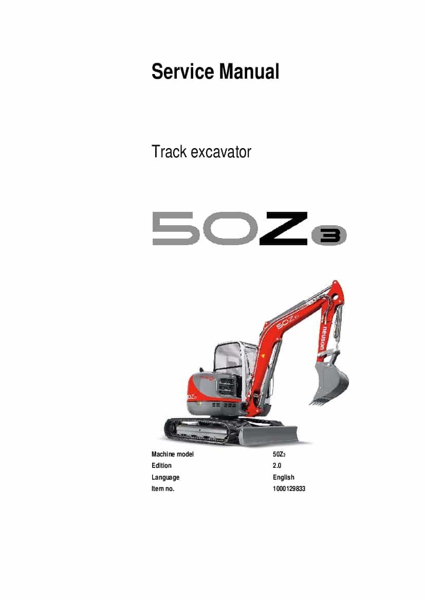 Neuson 50z3 Track Excavator Workshop Repair Service Manual