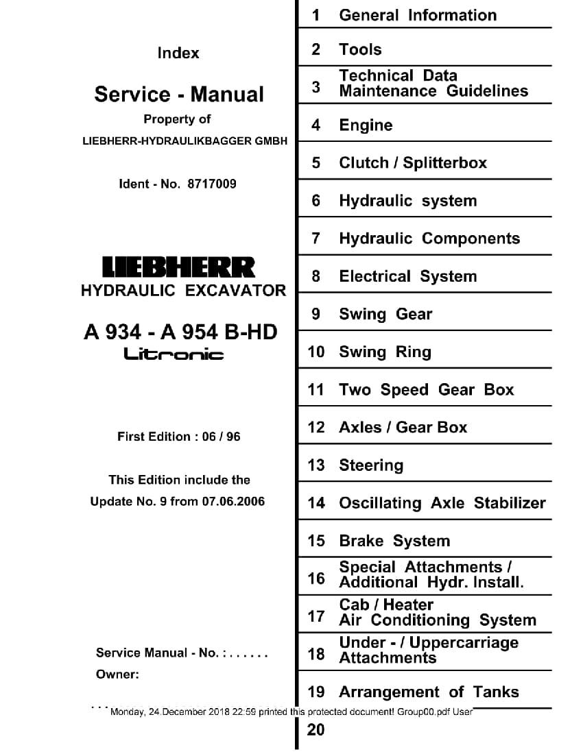 Liebherr A934 A944 A954 Hd Litronic Hydraulic Excavator