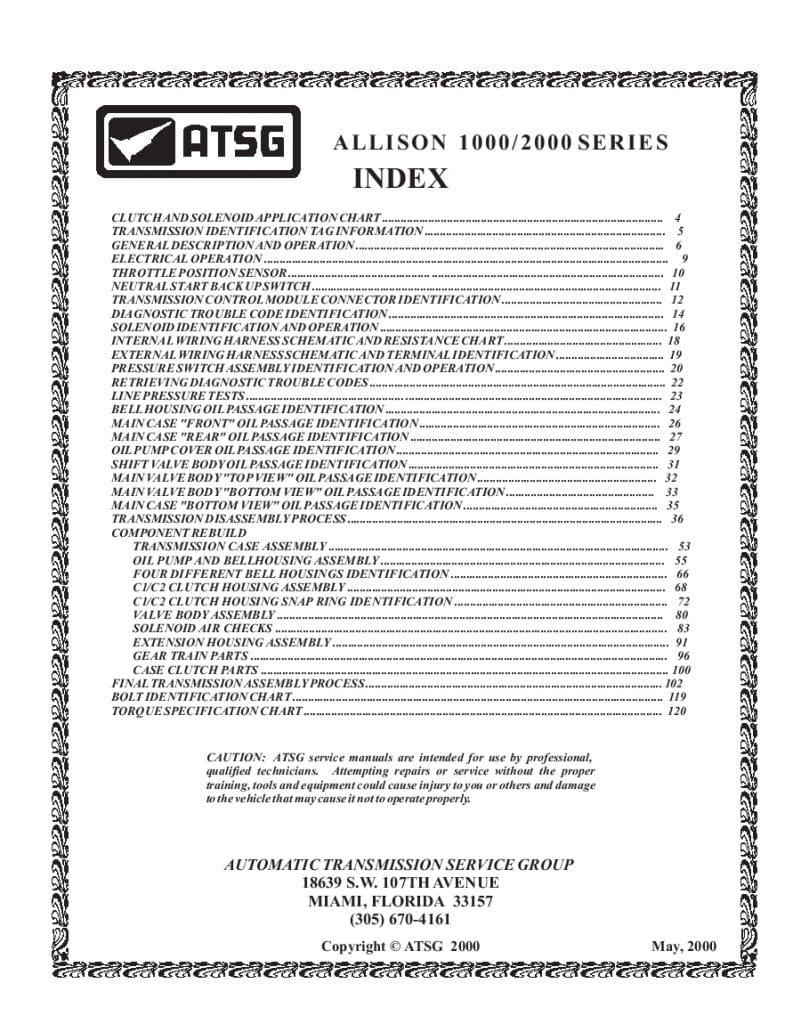 ALLISON 1000 2000 Transmission Workshop Repair Service ...