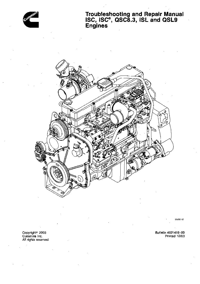 Cummins Isc Qsc 8 3 And Isl Qsl9 Engine Repair Manual Manual Guide