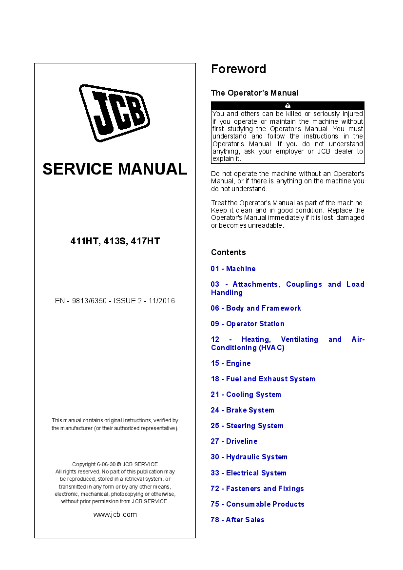 Jcb 411ht  413s  417ht Wheeled Loading Shovel Workshop