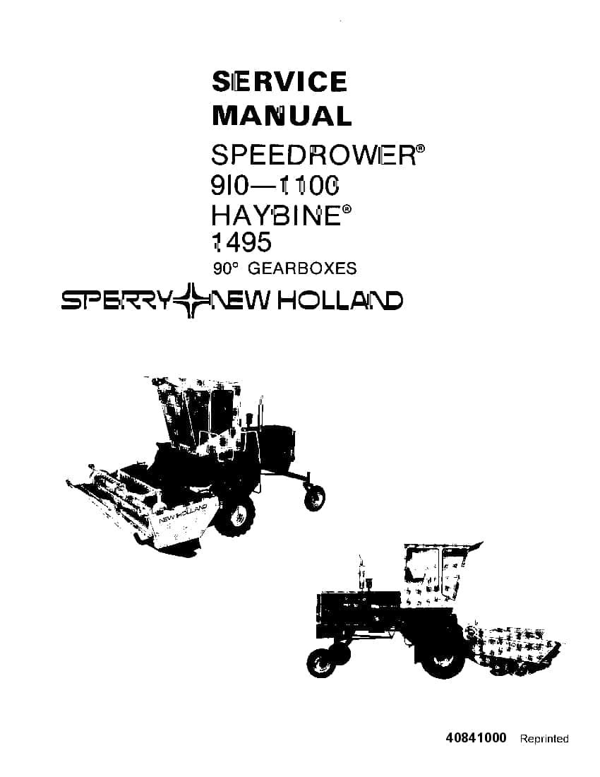 new holland speedrower 910 1100  haybine 1495 90 degree gearbox workshop repair service manual