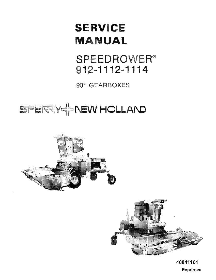 new holland speedrower 912 1112 1114 90 degree gearbox workshop repair service manual pdf