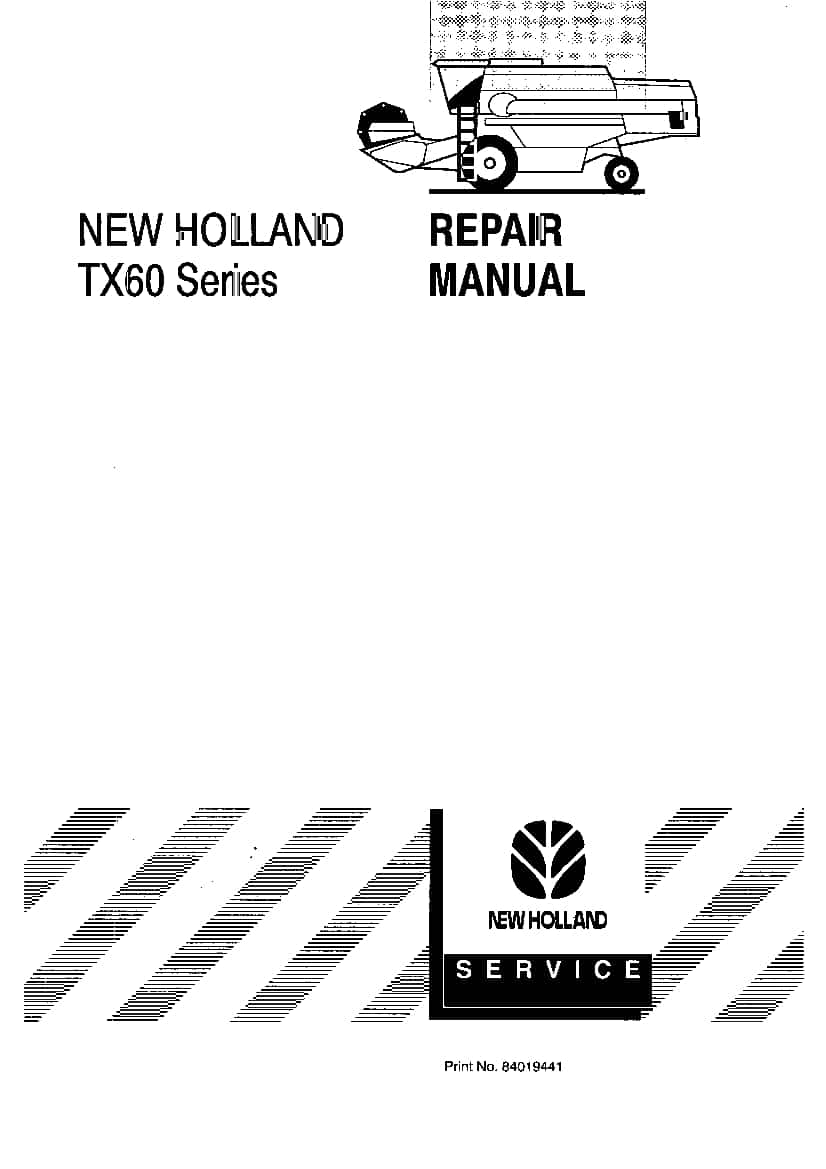 New Holland Tx60 Series Tx62 64 65 66 68 Tractor Workshop