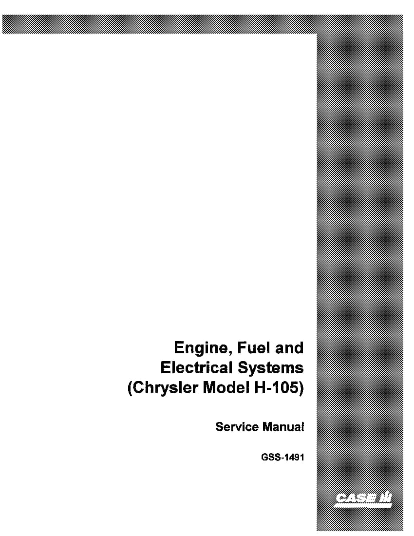 Case Engine  Fuel And Electrical System Chrysler Model H