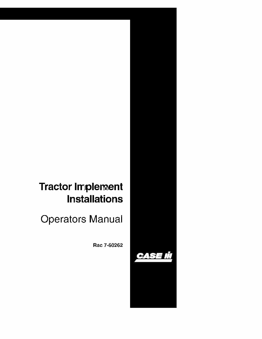 Case Tractor Implement Installation Operators Manual Pdf